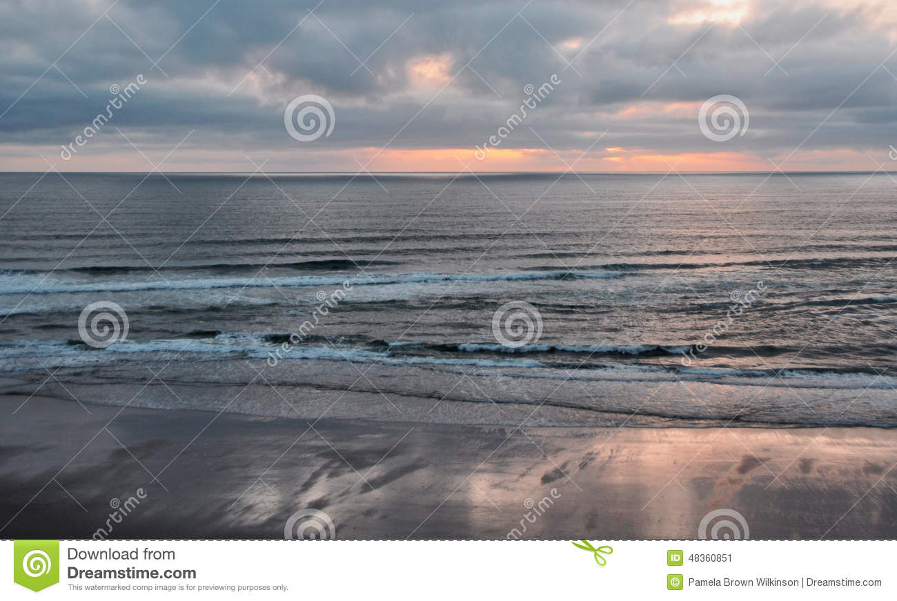 Sunset From Lincoln City, Oregon Stock Photo.