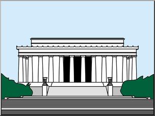 Clip Art: Lincoln Memorial Color I abcteach.com.