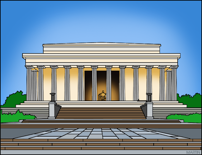Free Fourth of July Clip Art by Phillip Martin, Lincoln Memorial.