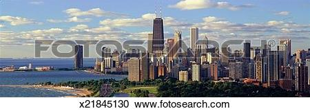 Stock Photography of 'Panoramic view of Lake Michigan and Lincoln.