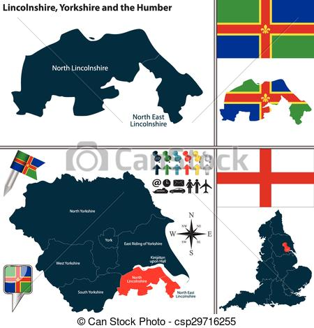 Clipart Vector of Lincolnshire, Yorkshire and the Humber, UK.
