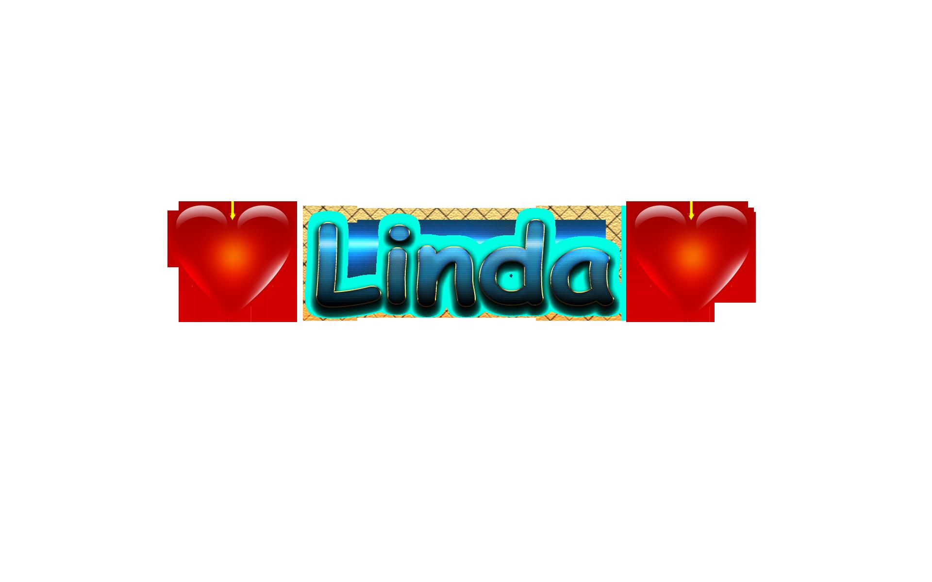 Linda Love Name Heart Design PNG.