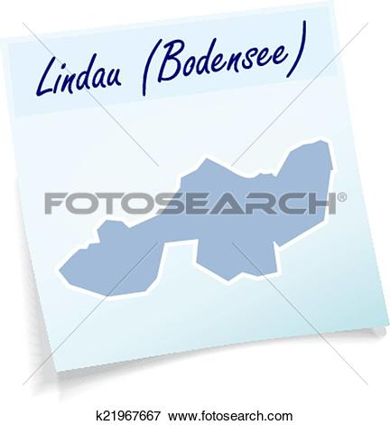 Clip Art of Map of lindau as sticky note k21967667.