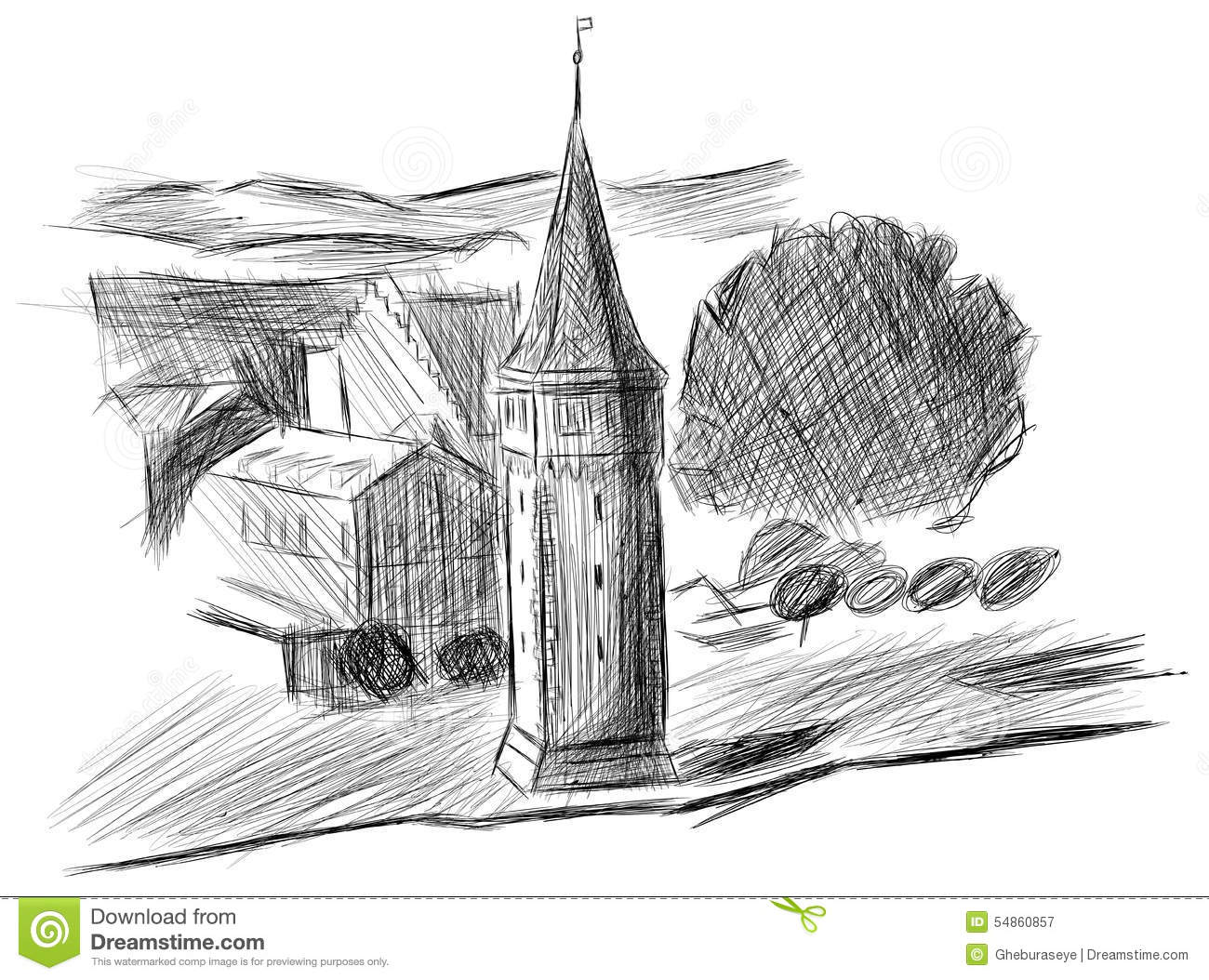 Sketch Of The Port Tower In Lindau, Germany Stock Vector.