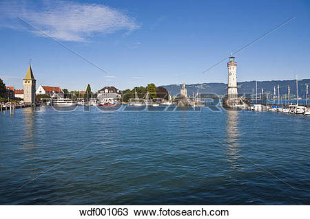 Stock Photo of Germany, Bavaria, Lindau, View of light house with.
