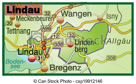 EPS Vector of Map of lindau with highways csp19912146.