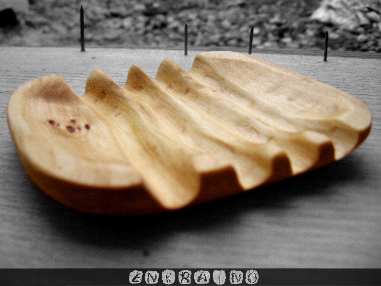 Wood soap dish.