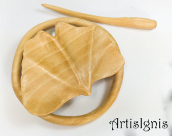 Hand Carved Wood Hair Accessories Art & Pyrography by ArtisIgnis.
