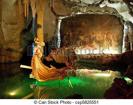 Stock Photography of Venus Grotto of the Linderhof Palace in.