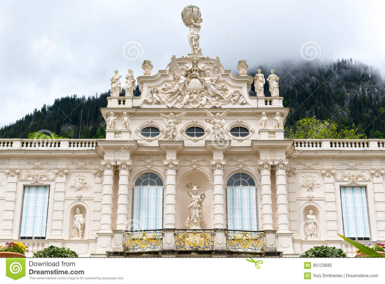 Facade Of The Linderhof Palace. Bavaria, Germany. Editorial Image.