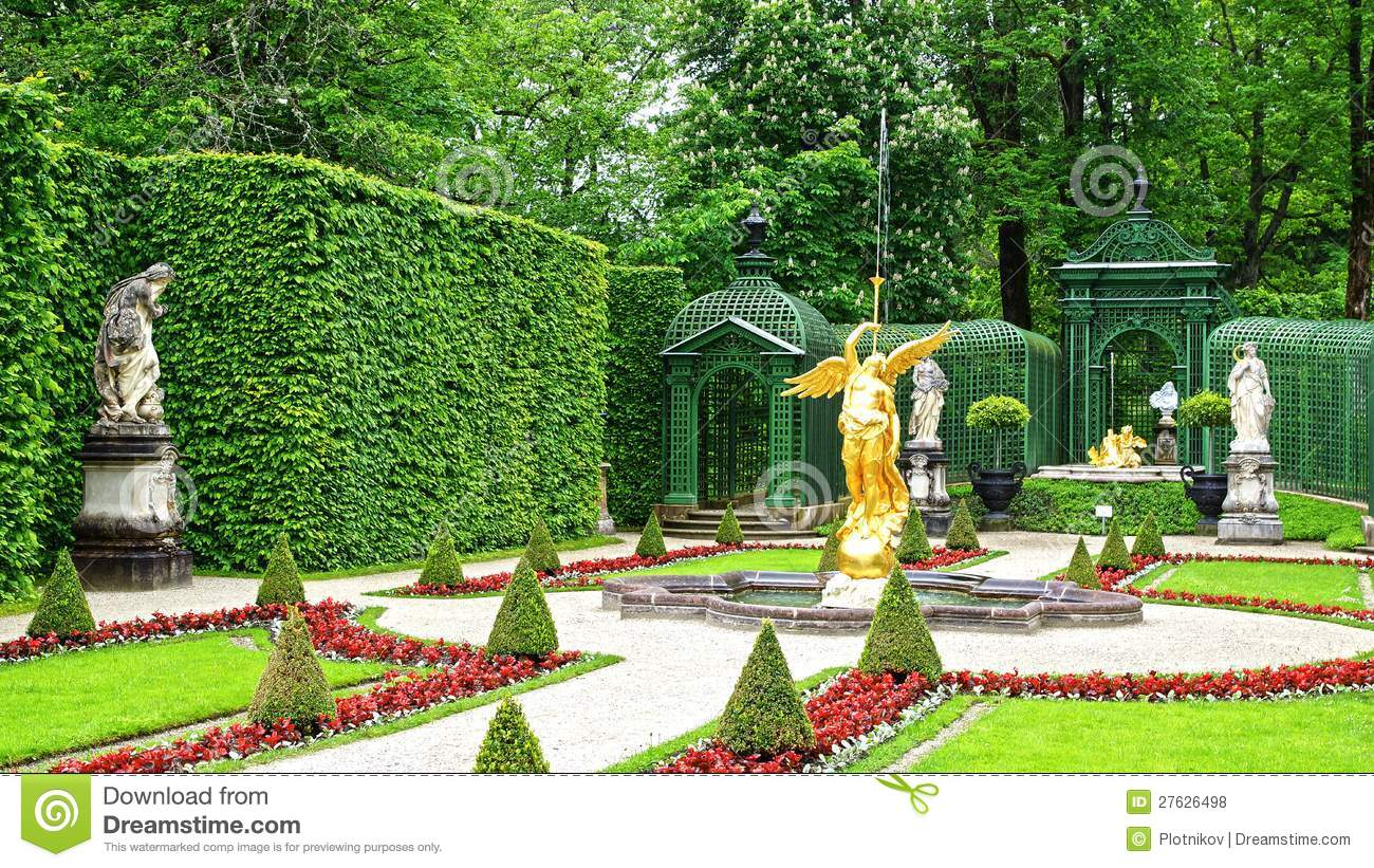 Linderhof Palace Garden. Royalty Free Stock Photos.