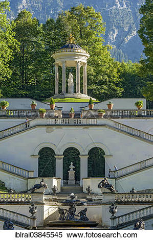 "Stock Image of ""Venus Temple above the terraced gardens, castle."