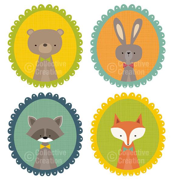 Lindos animales del bosque en marcos digitales Clip Art Clipart.