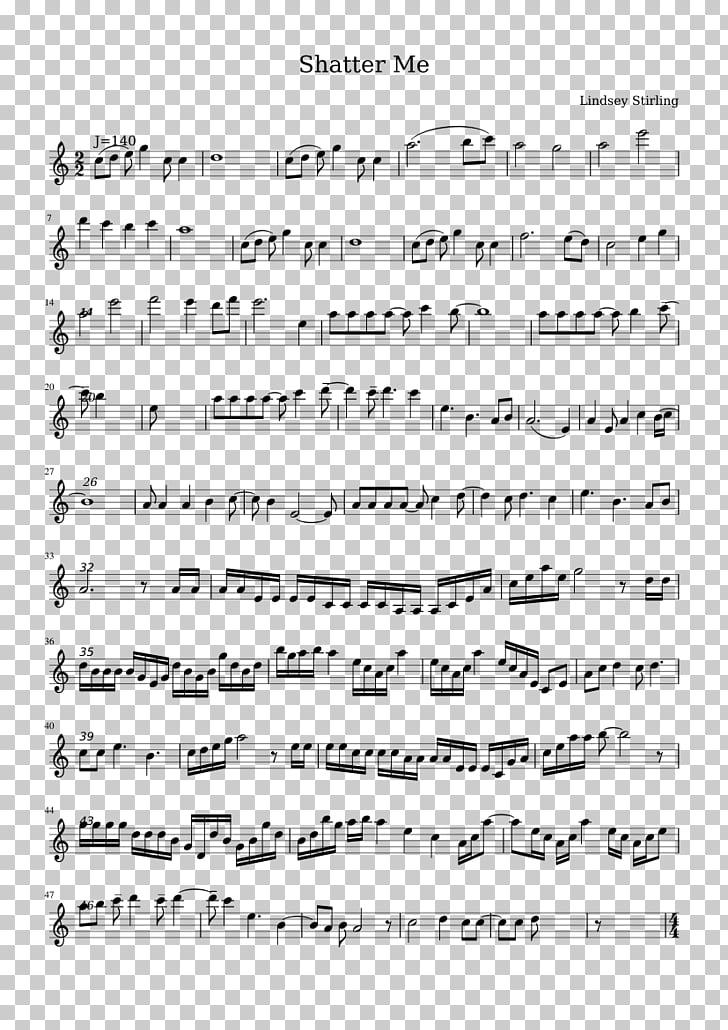 Sheet Music Shatter Me Violin Flute, Lindsey Stirling PNG.