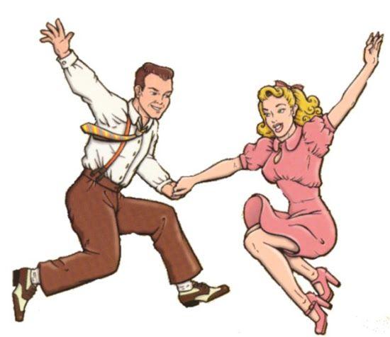 Swing Dancing couple. Lindy Hop. Clipart.