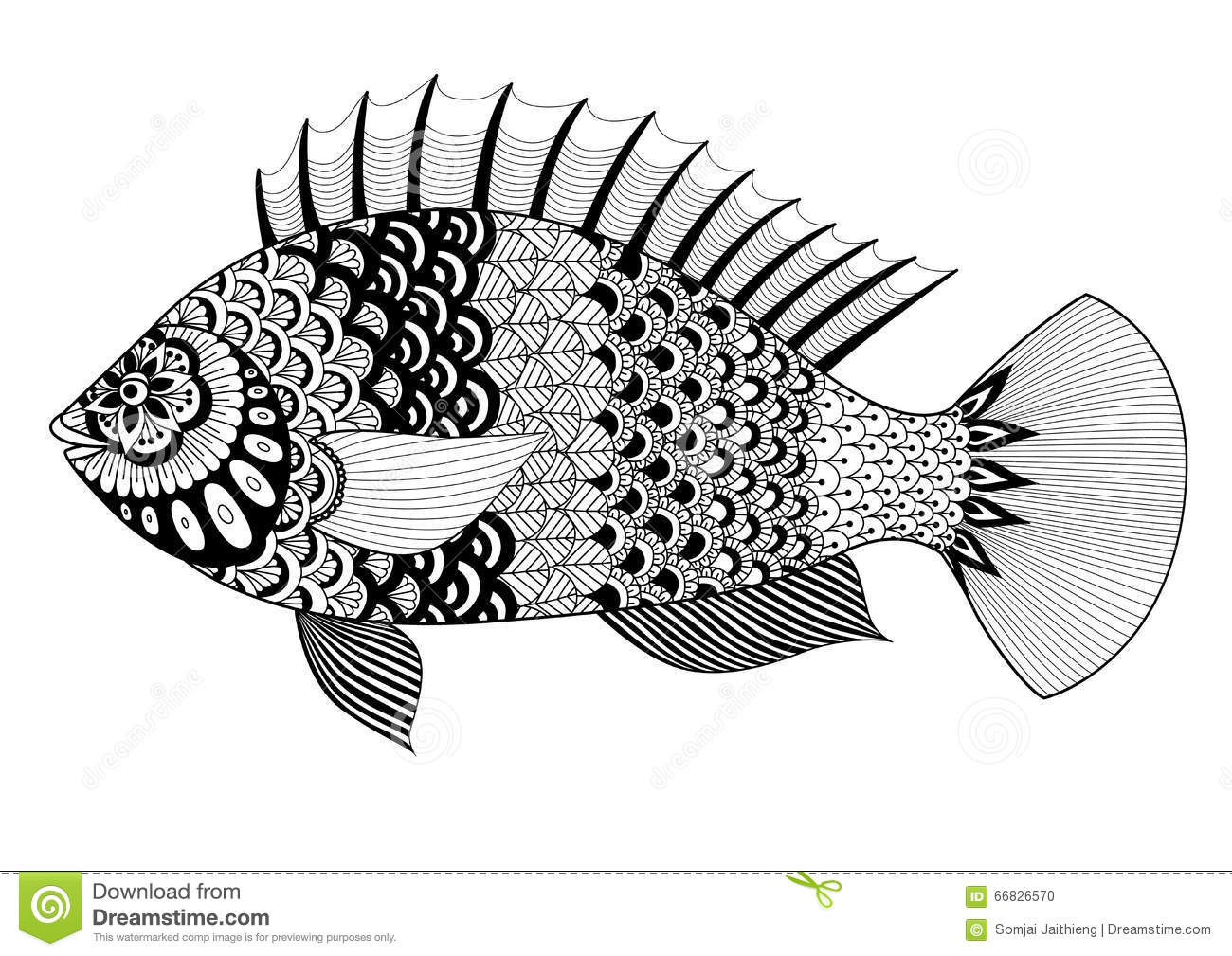 Fish Line Art Design For Coloring Book For Adult, Tattoo, T Shirt.