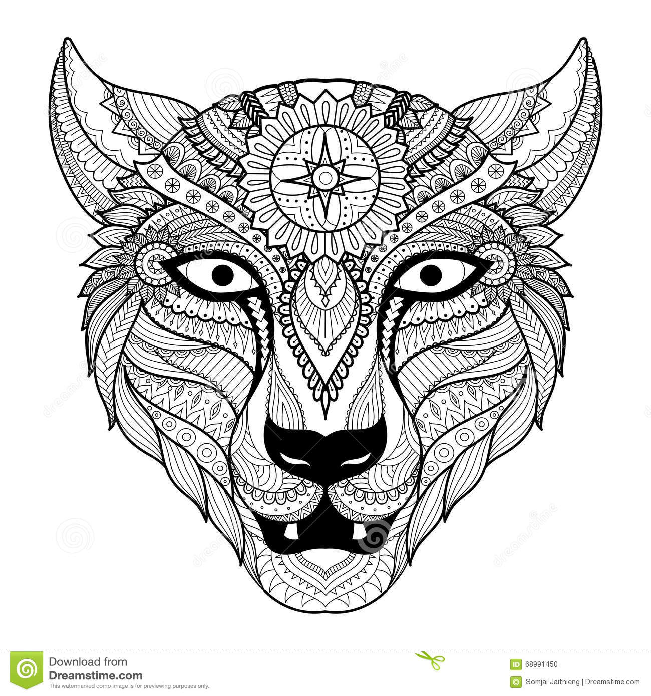 Leopard Line Art Design For Coloring Book For Adult, Tattoo, T.