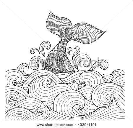 Whale tail in the wavy ocean line art design for coloring book fro.