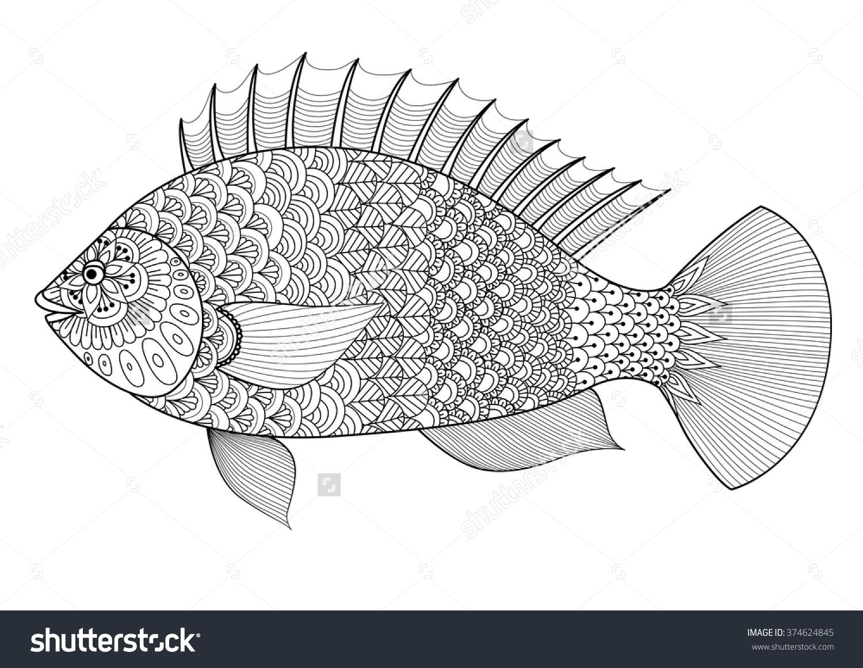 Fish Line Art Design Coloring Book Stock Vector 374624845.