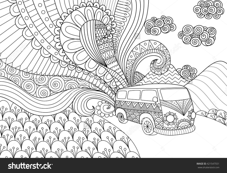 Van Line Art Design Coloring Book Stock Vector 421547551.