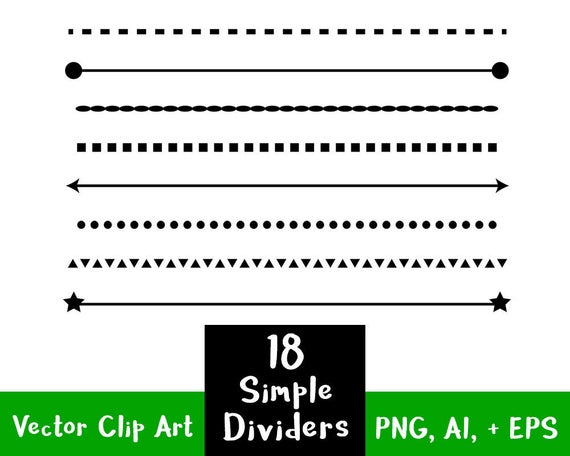 18 Simple Shape Line Dividers, Clip Art Dividers, Text Divider Clipart,  Page Divider Line, Divider Graphics, Page Border Clipart, Wedding.