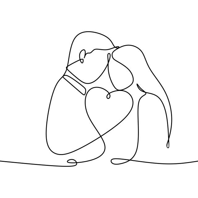 Couple In Love With Continuous One Line Drawing Vector.