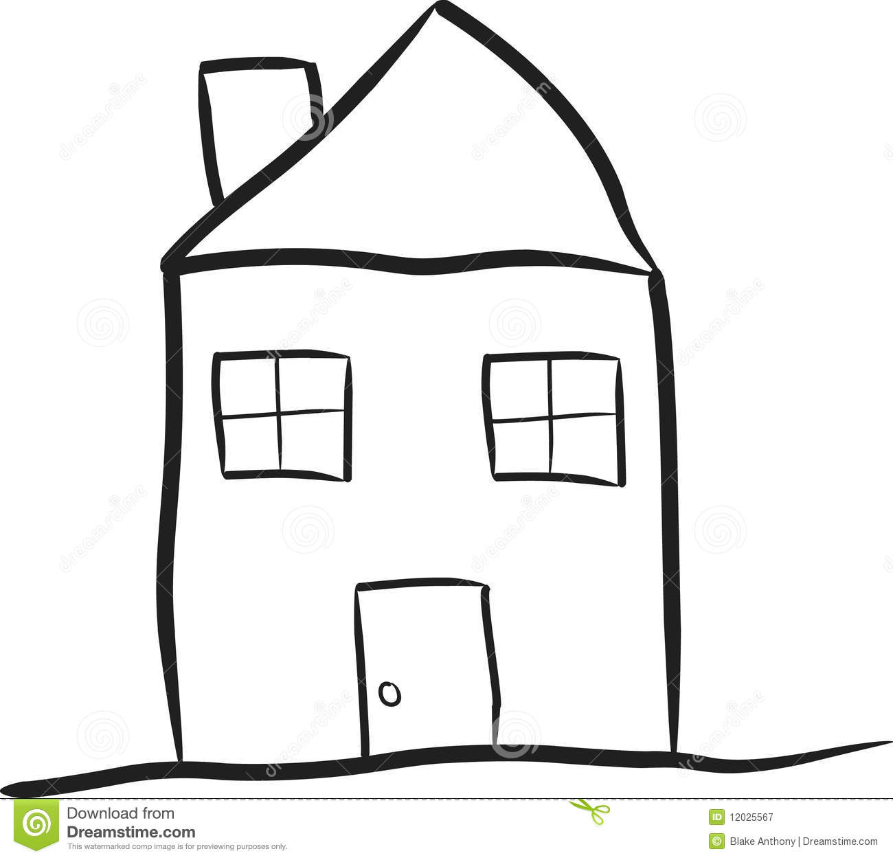 line drawing house clipart #3