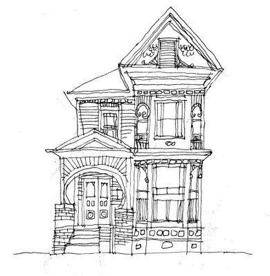 line drawing house clipart #2