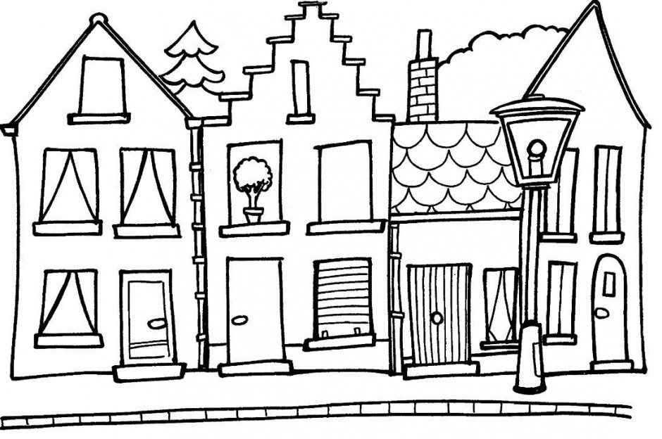 line drawing house clipart #13
