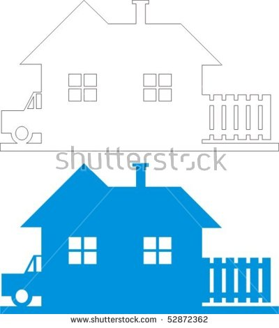 House Black White Line Drawing Colour Stock Vector 52872362.