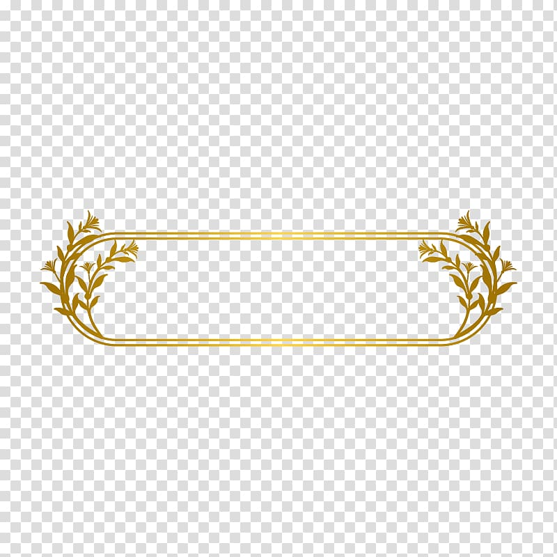 Gold Line, Gold Line border, oblong floral frame transparent.