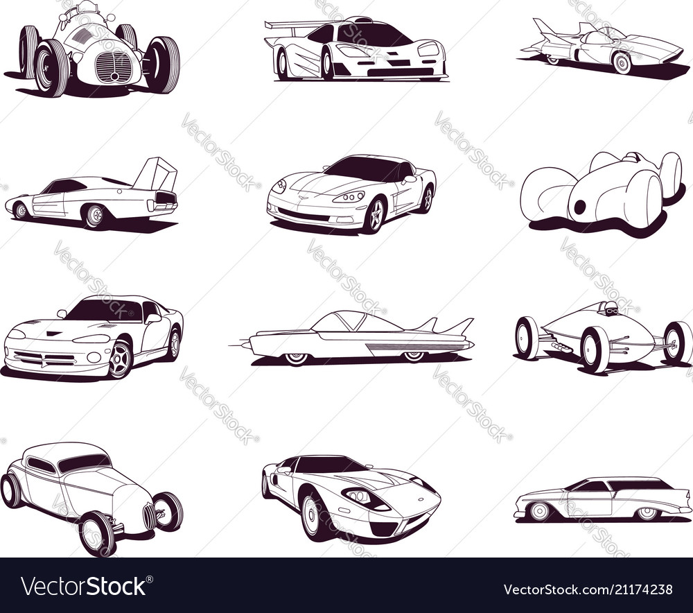 Sport old fast cars clipart cartoon collection.