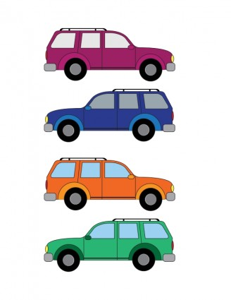 Cars in a line clipart.