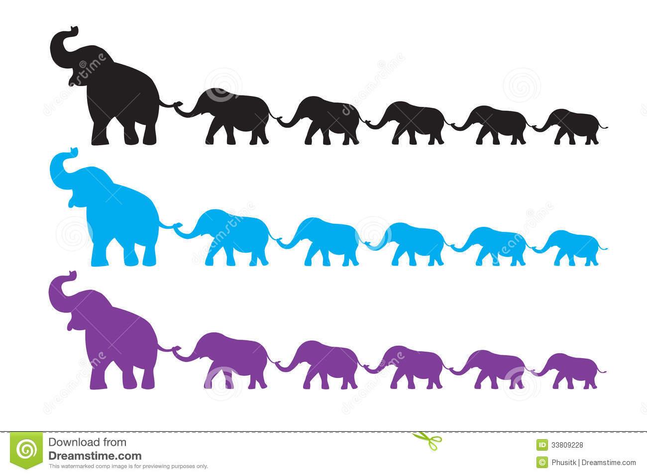Elephants Walking In A Line Clipart.