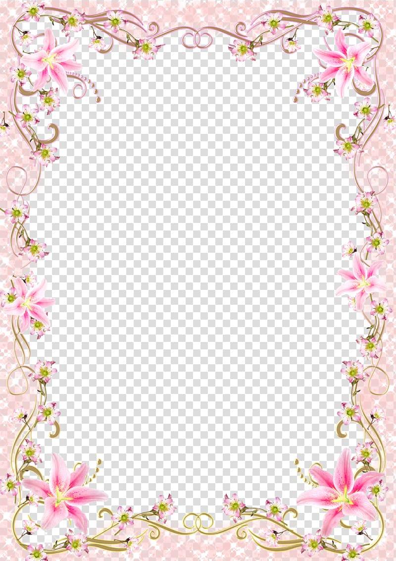 Frame Template, Floral Border Frame romantic pink line, pink.