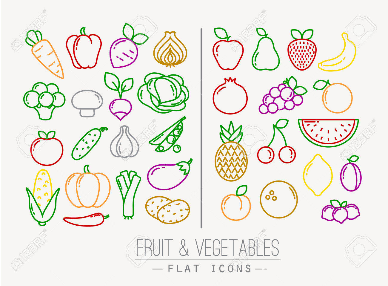 line of fruit clipart in color #9