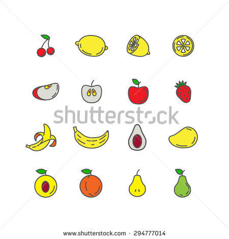 line of fruit clipart in color #4