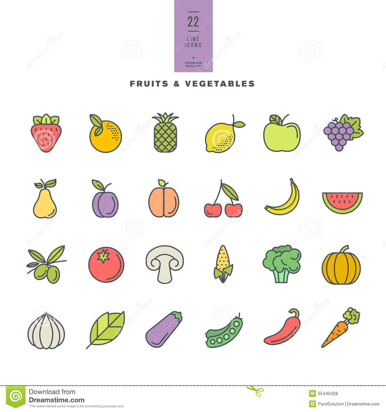 Set Of Line Modern Color Icons For Fruit And Vegetables Stock.
