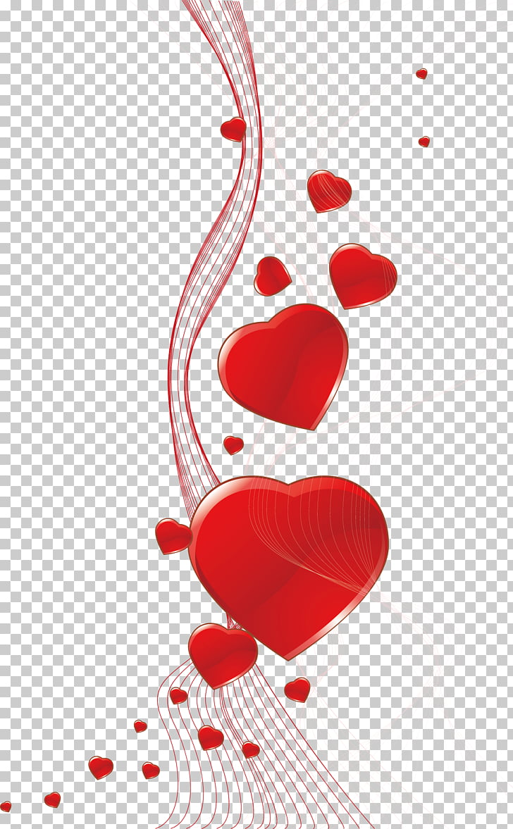 Red hearts background card, curve lines and hearts graphics.