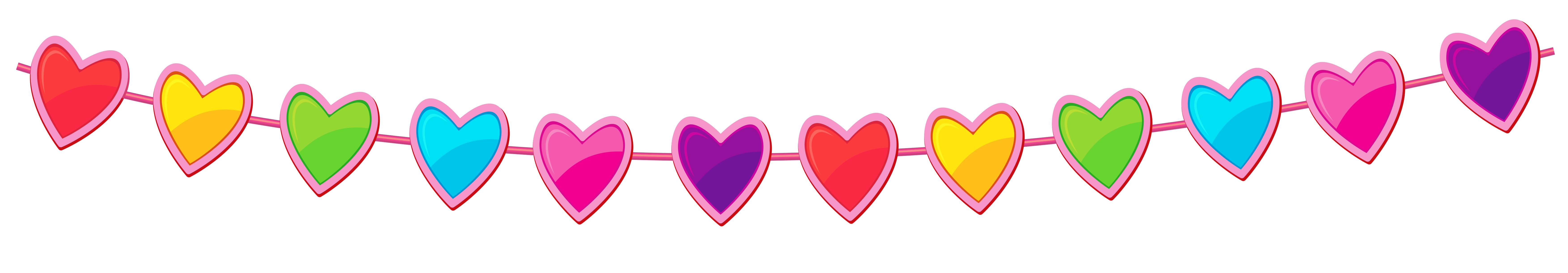 Hearts In A Line Clipart.