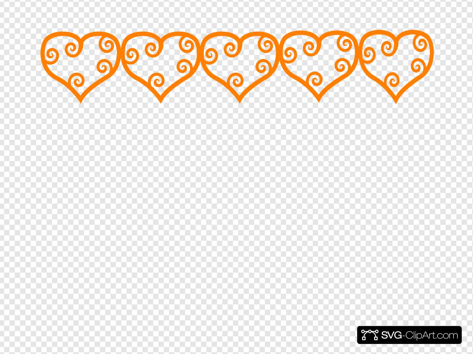 Row Of Hearts Orange Clip art, Icon and SVG.