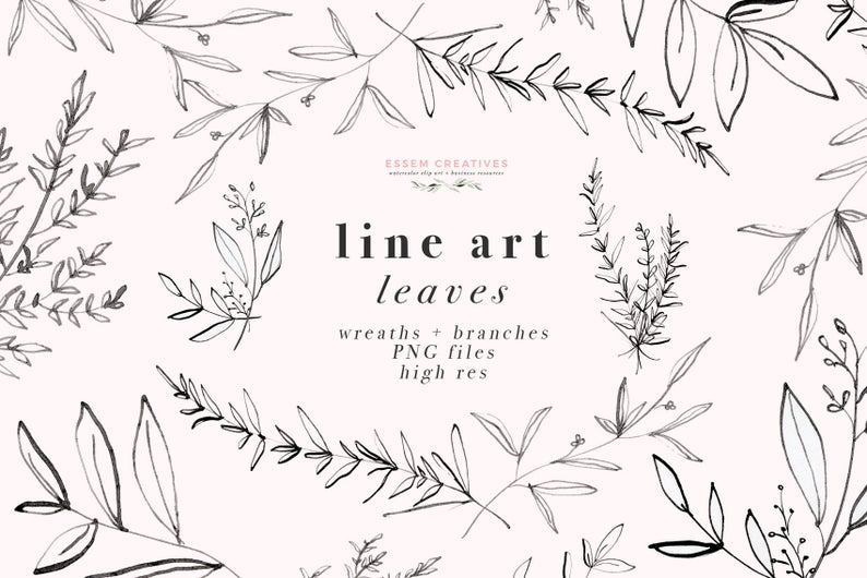 Line Art Leaves Clipart Illustration, Botanical Greenery Foliage, Dainty  Fine Art Eucalyptus Olive Branch, Digital Wreath PNG Floral Clipart.
