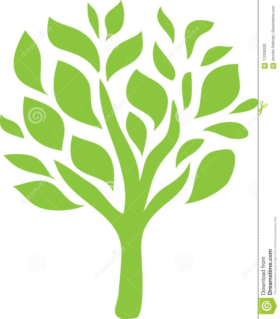 Green Tree Logo Line Art stock illustration. Illustration of.