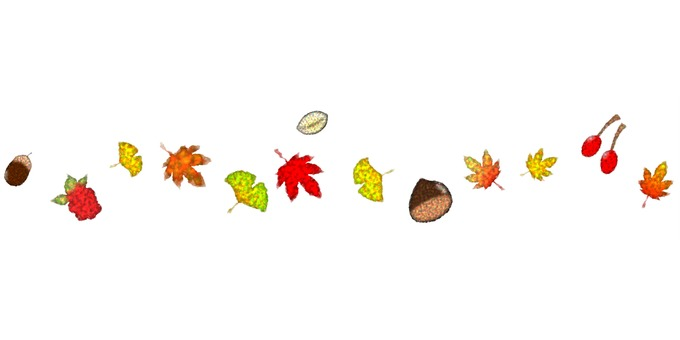 Line material】 Autumn leaves and tree nuts.