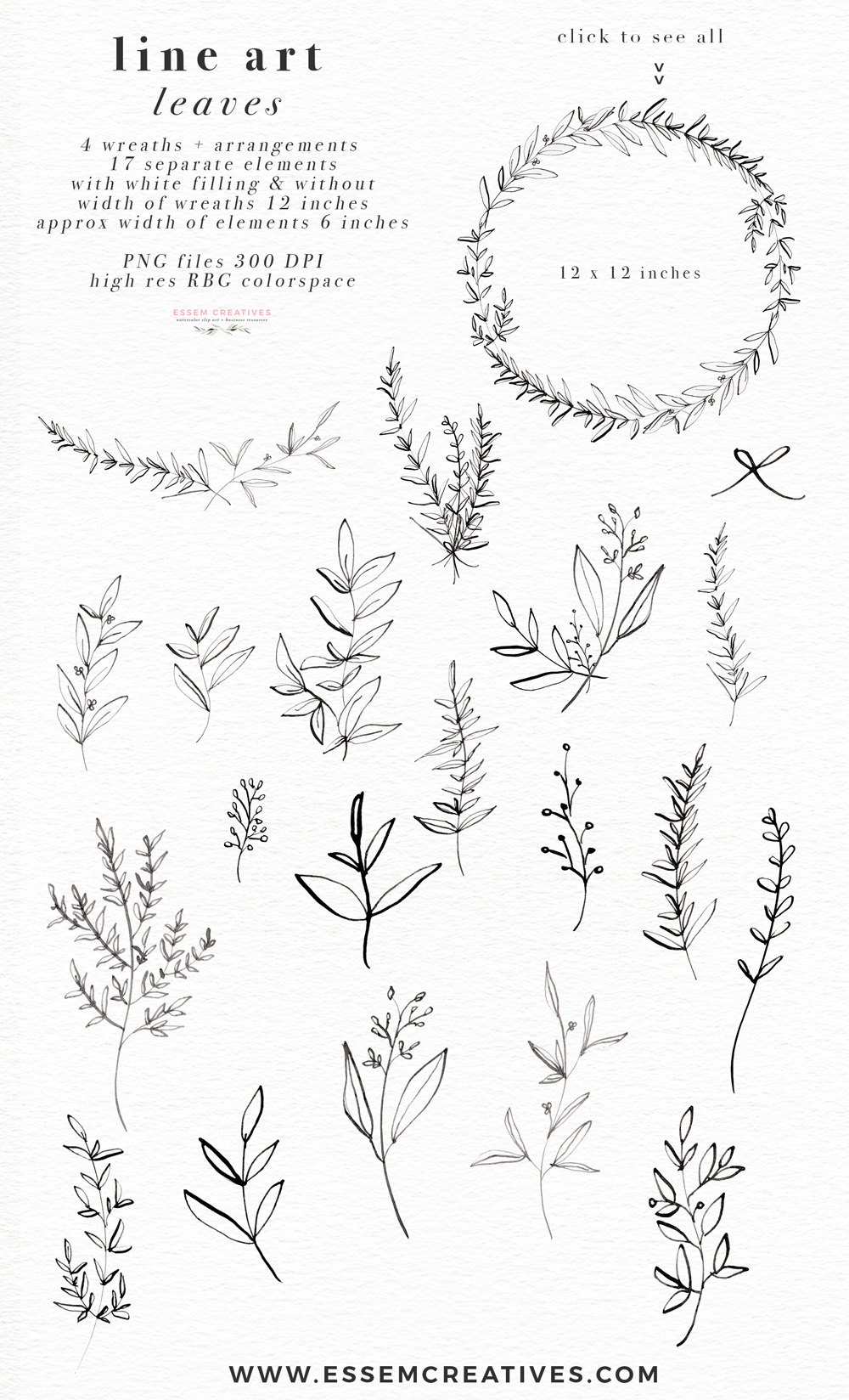 Line Art Leaves Clipart, Botanical Print Illustration.