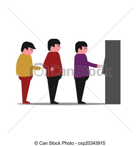 Vector Clip Art of line of people at a bank ATM machin.