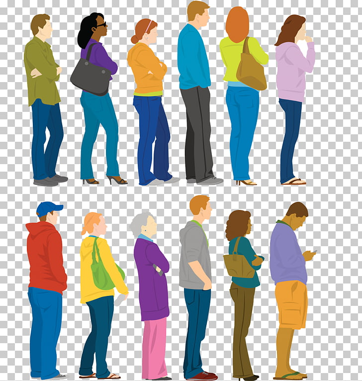 People Illustration, Line up shopping payment PNG clipart.