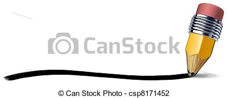 Clip Art of Pencil with writing stroke line.