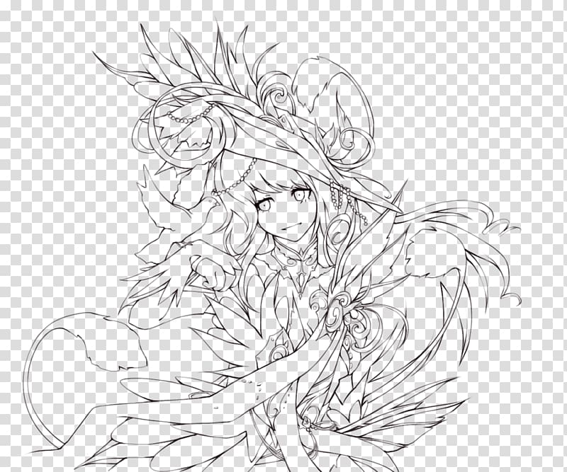 Line art Drawing Anime , Lineart transparent background PNG.