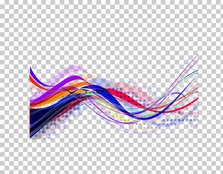 Ilustración de onda multicolor, línea arte abstracto, líneas.